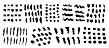 Vector Set Of Freehand Brush Strokes And Stains. Abstract Black Elements, Isolated On White Background. Ink Splashes With Grunge Texture.