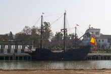 Replica Of The Spanish Galleon That Traveled And Discovered America For The First Time. Old Ship Moored At A Jetty On The Guadalquivir River In Seville (Andalusia, Spain).