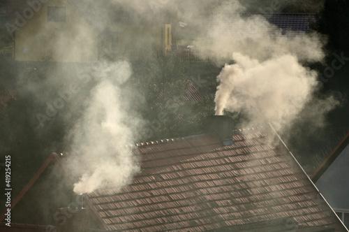 Obraz Dymy z kominów - fototapety do salonu