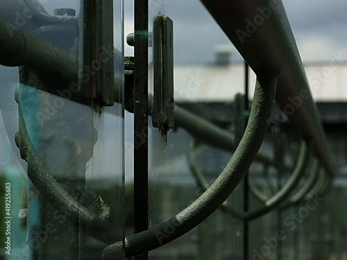Handrail With Reflection In The Glass Fotobehang