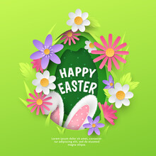 Cute Holiday Banner With Vector Layered Paper Cutout Egg, Realistic 3D Fur Ears Of Bunny, Spring Flowers, Grass On Green Background. Cartoon Festive Template With Text Happy Easter For Greeting Card.