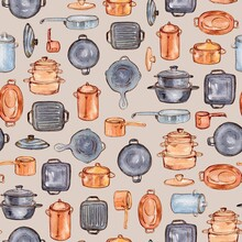 Watercolor Handdrawn Kitchenware. Pattern For Fabric, Packaging And Paper.