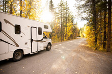 RV Driving Through Forest