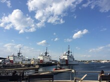 Navy U.S. Coast Guard Ships At USCG Boston Base, Battery Wharf. Boston, Massachusetts, United States