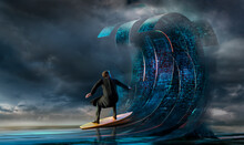 Businessman Surfing Binary Code Waves