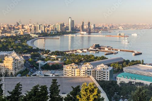 Fotografiet Aerial view of the seaside in Baku, Azerbaijan