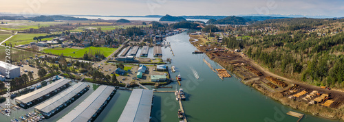 Aerial View of the Tourist Town La Conner, Washington Fototapet