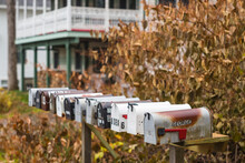 USA, Maine, Bayside. Bayview Cottages, Oceanside Community At A Former Religious Themed Resort Mailboxes During Autumn.