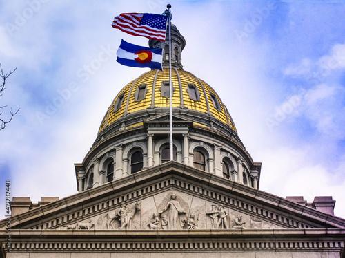Vászonkép Denver, Colorado USA:Gold plated roof top of the Capitol Building of Denver Colo