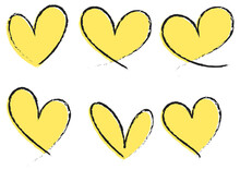 Set Of Different Types Of Yellow Heart Hand Drawn Isolated