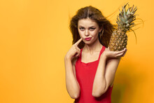 Woman With Pineapple In Hands White T-shirt Exotic Summer Fun Yellow Background