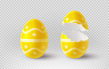 Yellow Cracked Egg Isolated On Checkered Background. Realistic Egg Shells. Vector Illustration With 3d Decorative Object For Easter Design.