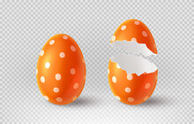 Orange Cracked Egg Isolated On Checkered Background. Realistic Egg Shells. Vector Illustration With 3d Decorative Object For Easter Design.