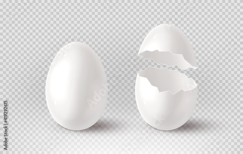 White cracked egg isolated on checkered background. Realistic egg shells. Vector illustration with 3d decorative object for Easter design.