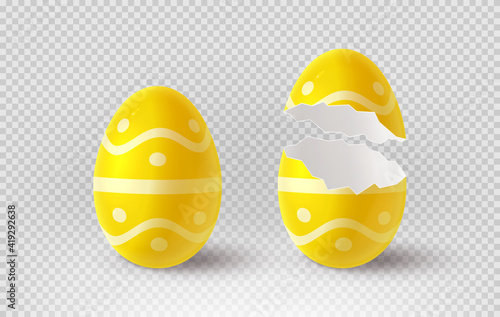 Fotografie, Tablou Yellow cracked egg isolated on checkered background