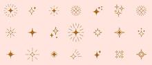Stars Line Art Icon. Vector Four-pointed Star For Logo, Social Media Stories