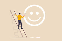 Happiness And Positive Thinking, Optimism Or Motivation To Live Happy Life Concept, Happy Boy Climb Up Ladder To Paint Smile Face On The Wall.