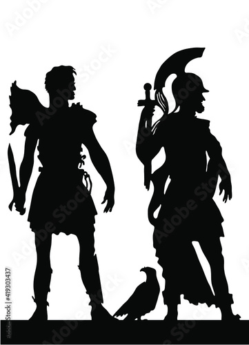 Fotografia, Obraz Collection of silhouettes of the Greek soldiers and people.