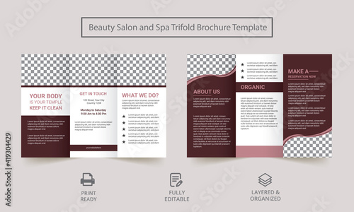 Spa square trifold brochure template. Spa Women Trifold Brochure design. spa salon flyer template.