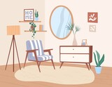 Trendy interior design of living room with retro furniture and decoration. Cozy home furnished with chair, chest of drawers, floor lamp, potted plants and wall mirror. Colored flat vector illustration