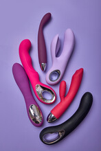 Erotic Pleasure Toys Represented In Sex Shop. Sexual Desire Concept. If You Want To Get Some Pleasure In Intimate Life, You Can Buy Dildo