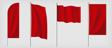 Set Of Red Flags. Template Isolated On A Transparent Background.