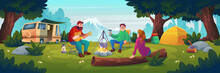 Summer Camp With People Sitting Near Bonfire. Vector Cartoon Landscape With Mountain, Forest And Campsite With Tourists, Tent, Van, Chairs, Guitar And Backpack