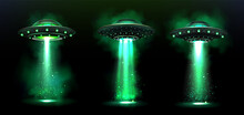 3d UFO, Vector Alien Space Ships With Green Light Beam, Smoke And Sparkles. Saucers With Bright Illumination And Vertical Ray For Abduction, Unidentified Flying Objects, Realistic Vector Illustration