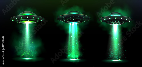 Fényképezés 3d UFO, vector alien space ships with green light beam, smoke and sparkles