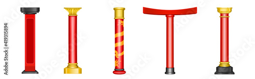 Photo Chinese red pillars, historic gold architecture decor for asian temple, pagoda, gazebo, arch and gate