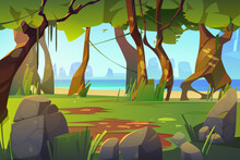 Cartoon Landscape With Forest And Sea View, Scenery Background, Natural Trees, Moss On Trunks And Rocks In Ocean, Green Grass, Bushes And Sunlight Spots On Ground, Summer Wood Vector Illustration