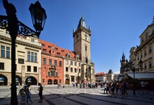 Old Town Hall In Prague Shown In Summer With Blue Sky, Central Bohemia, Czech Republic.