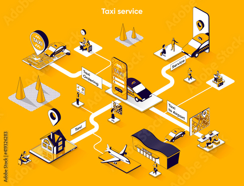 Taxi service isometric web banner. Passenger transportation or city transfer flat isometry concept. Mobile app for online taxi ordering 3d scene design. Vector illustration with tiny people characters