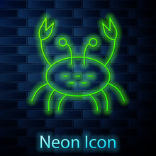 Glowing Neon Line Crab Icon Isolated On Brick Wall Background. Vector.