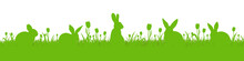 Green Vector Grass Meadow With Silhouette Of Rabbits On A White Background. Easter Concept: Spring, Easter, Holiday. Vector Illustration EPS 10