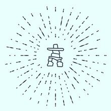 Black Line Inukshuk Icon Isolated On Grey Background. Abstract Circle Random Dots. Vector.