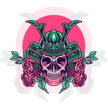 Skull Samurai Head With Roses Illustration