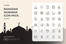 Line Icon Set Of Muslim And Ramadan Mubarak Theme Concept Vector Illustration