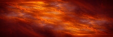 Abstract Dark Red Background. Dramatic Fiery Bloody Sky. Fantastic Golden Sunset Background With Copy Space For Design. Halloween, Evil, Armageddon, Apocalypse Concept. Wide Banner. Panorama. Nobody.