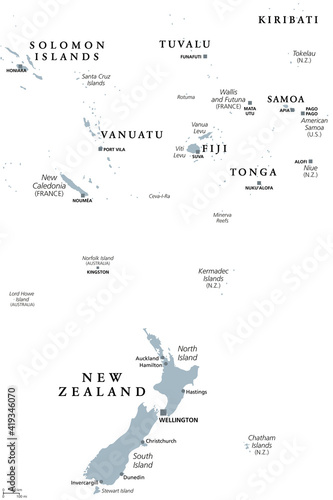 Obraz na plátně New Zealand and southern Polynesia, gray political map with capitals