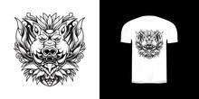 Line Art Illustration Monster Pig For Tshirt Design