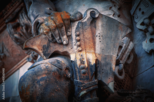 Military armor and weapon of grim old  guardian soldier Wallpaper Mural