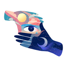 Hands With Eye. Vector Illustration.