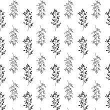 Simple Seamless Leaf Patterns For Black And White Decoration