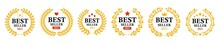 Best Seller 2021 Label Collection. Best Product Label With Laurel Wreath - Vector Set. Advertising Design