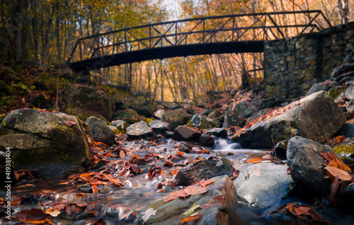 Photo A bridge cross as creek in Shenandoah National Park during a sunny Autumn day