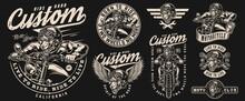 Motorcycle Vintage Monochrome Emblems Set