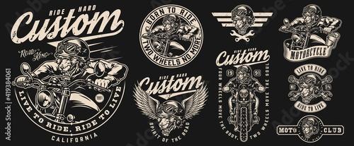 Fotografia Motorcycle vintage monochrome emblems set