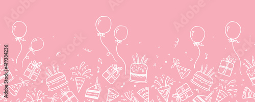 Fotografie, Obraz Fun hand drawn party seamless background with cakes, gift boxes, balloons and party decoration