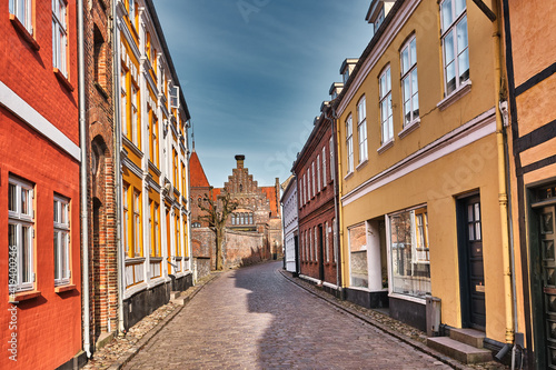 Cobbled streets in the old medieval city Ribe, Denmark Fototapet